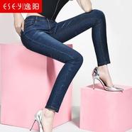 逸阳女裤春季新款韩版牛仔裤女长裤修身小脚裤弹力黑色铅笔裤