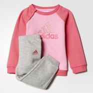 adidas 阿迪达斯 训练 女婴童 针织套装 海湾粉/中麻灰 AY6023