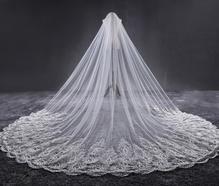 新款韩式浪漫蕾丝长拖尾镶嵌水钻软纱头纱3.8米超长新娘结婚头纱