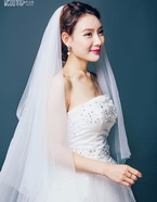 韩式简约新娘头纱双层3米超长拖尾头纱软纱5米10米婚纱头纱裸包邮