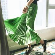 TMC极致优雅 意大利进口面料永久定型手工风琴百褶绿色半身长裙