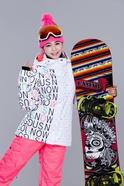 正品专柜Gsou Snow女士滑雪服 大码宽松休闲保暖透气防风防水棉衣