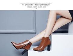 潮16年欧美秋冬新款百搭大小码高跟尖头粗跟短靴女加绒真皮及踝靴