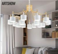 Постмодернистская минималистская мода кованая железная дуплексная лампа для гостиной в скандинавском стиле