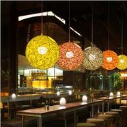 创意吊灯奶茶店吊灯乡村餐厅酒吧台阳台过道圆球麻球藤艺手工编织吊灯尺寸直径15-90CM可选择