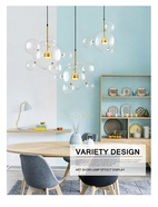 Creative Soap Bubble Glass Chandelier LED Living Room Postmodern Molecular Light
