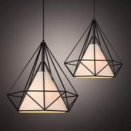 复古创意工业风吊灯餐厅卧室书房吧台金字塔铁艺钻石简约吊灯