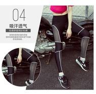 户外专业运动跑步长裤蜂窝性感拼接网纱弹力跑步瑜伽健身长裤女N