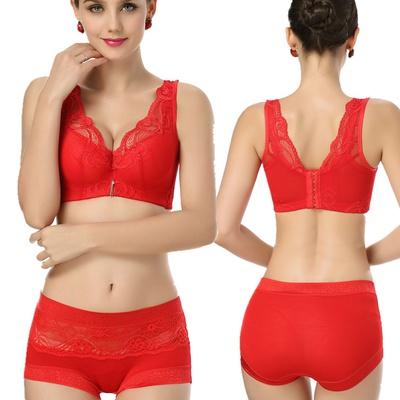 本命年大红色结婚文胸套装 薄杯聚拢调整型收副乳女士内衣背心式