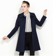 免邮/亦谷风衣女中长款秋装新款时尚英伦单排扣长袖修身外套